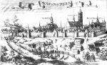 Braniewo z 1684r. wedug Ch. Hartknocha. Widać ciagle jeszcze silne fortyfikacje miejskie