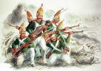 rosyjscy grenadierzy z pułku Pawłowa w roku 1807. Prawdopodobnie podobne  umundurowanie mieli grenadierzy kałuskiego pułku muszkieterów podczas walk pod Braniewem w dniu 26.02.1807r.