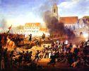 """Tak to mogło wyglądać w Braniewie… w tym przypadku """"Szturm na Landshut 21.04.1809r."""" na moście generał Mouton na czele grenadierów 17 pułku piechoty liniowej. Obraz L. Hersanta"""