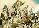 Szarża Czarnych Huzarów na piechotę francuską 10.06.1807r. podczas bitwy pod Lidzbarkiem Warm.