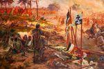 Fragment obrazu Popiela i Rozwadowskiego, na pierwszym planie wbita w ziemię chorągiew braniewska