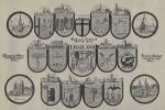 herby miast Warmii, a wśród nich herb Braniewa z samotnym drzewem laurowym