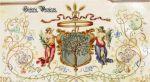 bogato zdobiony herbem Braniewa z 1853 r. Jest to fragment dyplomu Honorowego Obywatela Braniewa przyznanego lekarzowi Jacobowi Jacobsonowi (1807-1858) niezwykle zasłużonemu w zwalczaniu epidemii cholery w Braniewie w latach 1831-1852
