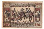 """Znaczek lub pamiątkowa plakietka nawiązująca do starcia pod Braniewem pomiędzy francuskimi i pruskimi huzarami. Walki te w obu armiach urosły do rangi legendy. Na znaczku napis, który można przetłumaczyć następująco: Czarny Huzar musi nienawidzić i nie chcąc przebaczenia zawraca ze słowami: """"Na to jest za późno!""""."""