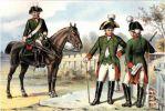 Z prawej kapitan i podoficer  Feldjäger-Corps zu Fuß w umundurowaniu z 1763r. Z lewej żołnierz Feldjäger-Corps zu Pferde