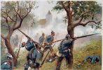 Bitwa pod Sadową (Königgrätz) stoczona w dniu 3.07.1866r. największa i najkrwawsza bitwa wojny 1866r. Na ilustracji obrona Chlum przez pułk 1 Garde-Regiment. Obraz r. Knötel.