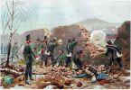 Jedna z walk podczas wojny 1870-1871. W bitwie pod Mont-Valerien w dniu 19.01.1871r. walczy 5 Batalion Jegrów. Ilustracja R. Knötel.