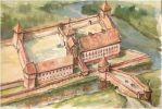 Zamek biskupi w Braniewie został zdobyty i częściowo zniszczony przez powstańców ze Związku Pruskiego w lutym 1454r. Od sierpnia 1455r. był rezydencją Jana Skalskiego czeskiego zaciężnego w służbie polskiej. We wrześniu 1461r. mieszczanie braniewscy zaatakowali załogę czeską biorąc większość do niewoli. Miasto poddało się pod władzę biskupa Legendorfa w dniu 15.09.1461r. Był to jeden z jego największych sukcesów podczas odzyskiwania Warmii. Ilustracja- Andrzej Zieliński.