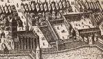 Fragment dawnego Braniewa (1635r.) z dwoma najważniejszymi obiektami dotyczącymi biskupa Pawła Legendorfa tj. zamek biskupi będący jego siedzibą w różnych okresach wojny trzynastoletniej  i kościół św. Katarzyny, w którym został pochowany w 1467r. i spoczywa do dziś.