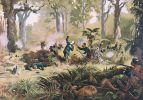 Śmierć Gustawa von Tempskiego w walce z wojownikami Titokowaru w Te Ngutu o te Manu w dniu 7.09.1868. Obraz namalował Kennett Watkins