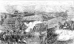 21.02.1864 Rangiaohia, kolonialne siły obrone, w tym Forest Rangers i 65 Regiment w walce z Maorysami . Brett, 1887.