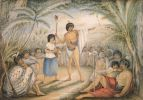Akwarela autorstwa Gustawa von Tempsky z 1864r.przedstawiająca maoryską radę wojenną