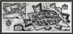 """Szwedzkim """"okupantom"""" zawdzięczamy najdokładniejszy istniejący plan dawnego Braniewa. Fortyfikacje zamku i miasta w 1635 r. wg miedziorytu P. Stertzella'a. W górnym rogu powiększenie fragmentu z zamkiem. Tak wyglądało Braniewo w czasach urzędowania burmistrza Szymona Wichmanna."""