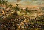 Bitwa pod Resaca stoczona w dniach 13-15.05.1864 w stanie Georgia. Bitwa była nierozstrzygnięta. W tej bitwie ciężką ranę odniósł generał Willich, co zakończyło jego karierę jako dowódcy polowego. Ilustracja Kurz and Allison, 1889.