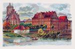 pocztówka ukazująca seminarium nauczycielskie, a później szkołę zamkowa od strony Pasłęki. W miejscu białego budyneczku nad rzeką stała kiedyś baszta broniąca wjazdu do zamku.