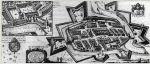 Fortyfikacje zamku i miasta w 1635 r. wg miedziorytu P. Stertzella'a. W górnym rogu powiększenie fragmentu z zamkiem.