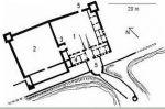 Plan zamku wg Zbigniewa Nawrockiego: 1 - zamek główny, 2 - przedzamcze, 3 - wieża bramna, 4 - dom mieszkalny, 5 – bramy