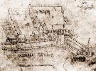 Schematyczny rysunek K. Goetkego przedstawiający zamek w Braniewie.