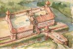 zamek w wyglądzie średniowiecznym autorstwa braniewskiego malarza Andrzeja Zielińskiego. Na tej akwareli widać budynek gospodarczy wschodni z wieżą w narożu północno-wschodnim