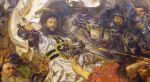 """Ulrich von Jungingen  wielki mistrz zakonu krzyżackiego w latach 1407-1410. Brat poprzedniego wielkiego mistrza Konrada. W czerwcu 1408r. podczas przejazdu przez Braniewo był hucznie witany przez władze miasta. Poniósł klęskę i śmierć pod Grunwaldem, gdzie rozbita została również braniewska chorągiew walcząca po stronie krzyżaków. Ilustracja to fragment obrazu """"Bitwa pod Grunwaldem""""  Jana Matejki."""